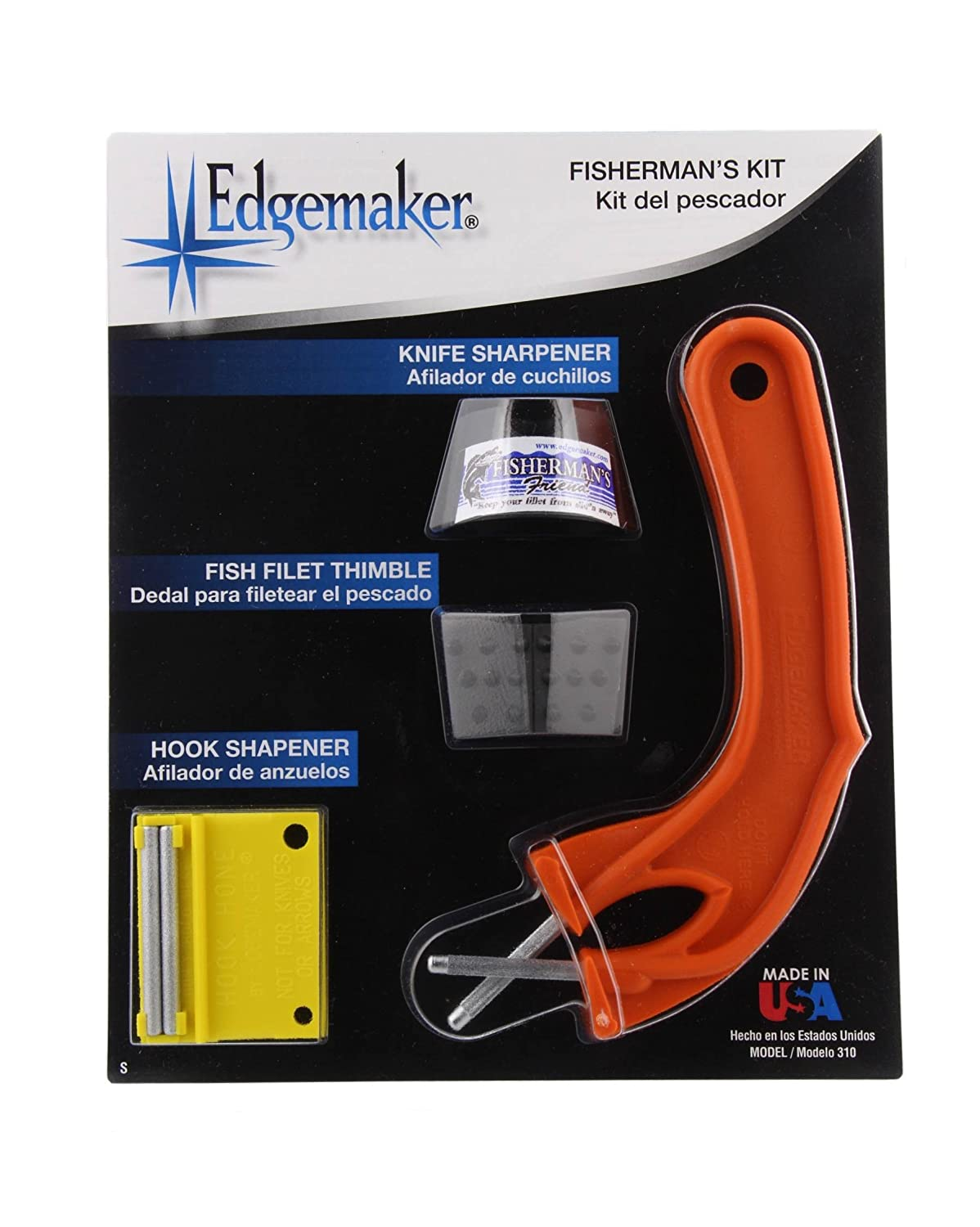 The Edgemaker Fishermans Kit- Sportsman Sharpening Rod 012, Fish Filet Thimble, and Fine Point Hook Sharpener- Perfect for any Fisherman