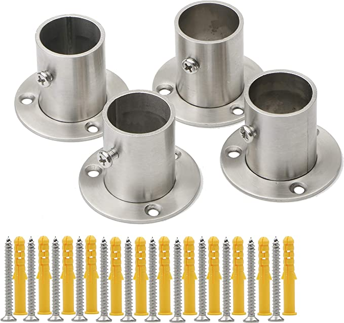 Details about  /2pcs Silver Stainless Steel Closet Rod Flange Socket Holder For 26//32mm Dia Pipe