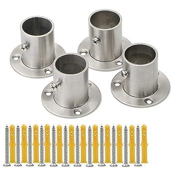 Pxyelec - Soporte para barra de armario de acero inoxidable para tubo de acero de 25 mm de diámetro exterior, 4 unidades