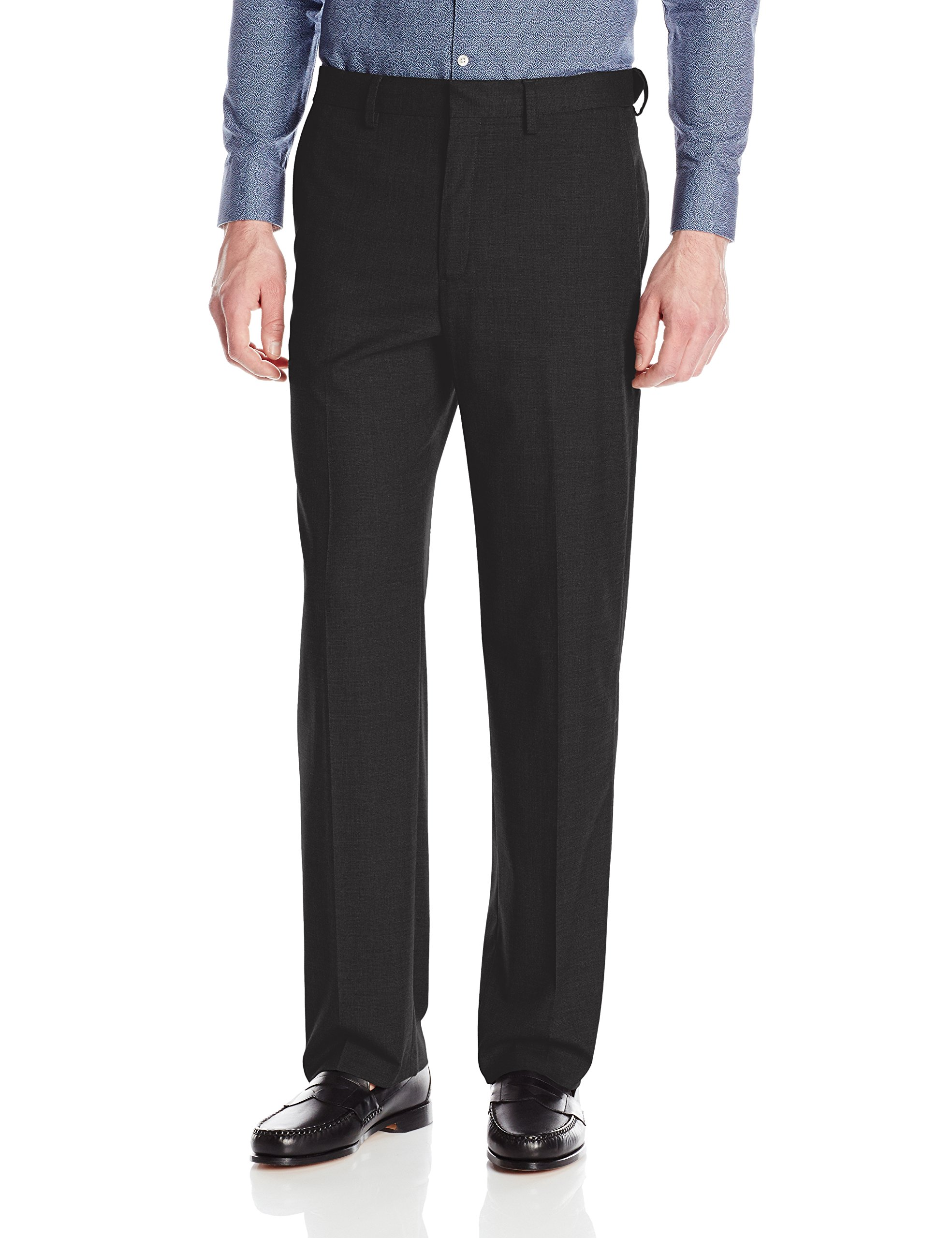 J.M. Haggar Men's Premium Performance Stretch Stria Plain Front Suit Separate Pant, Black, 44W x 30L by J.M. Haggar