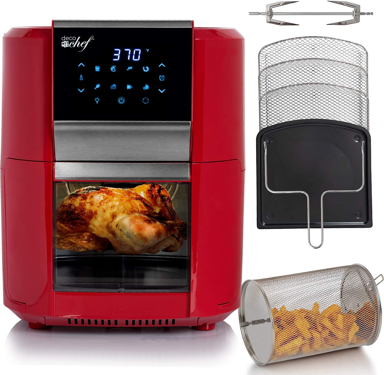 Deco Chef 12.7 QT Digital Air Fryer Oven with 8 Preset Cooking Modes, 1700W Power, Cool-Touch Housing, Includes 3 Roasting Racks, Oil Drip Tray, Rotating Basket, Rotisserie Assembly, ETL Certified, Red