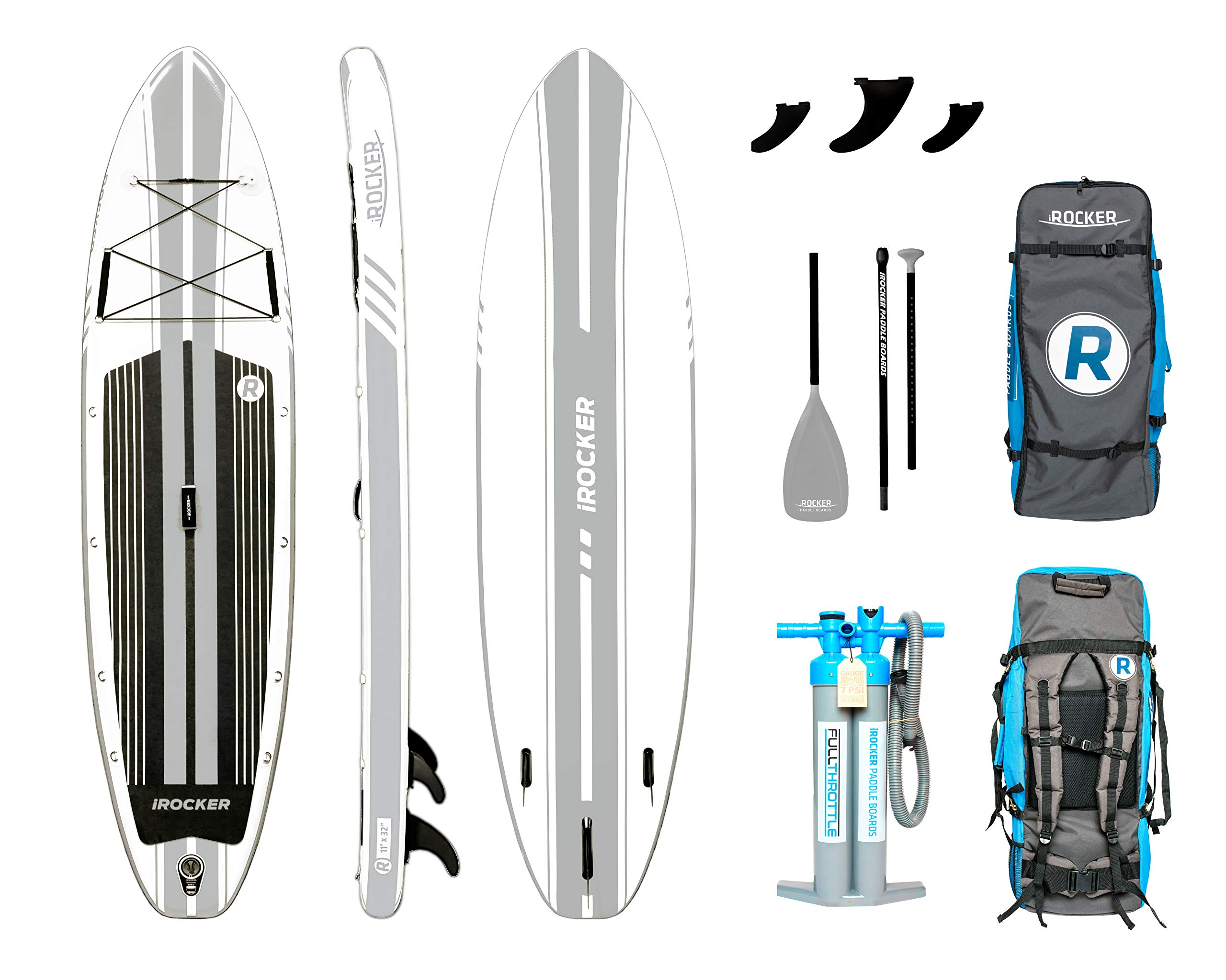 iROCKER All-Around Inflatable Stand Up Paddle Board 11' Long 32'' Wide 6'' Thick SUP Package (White 2019)