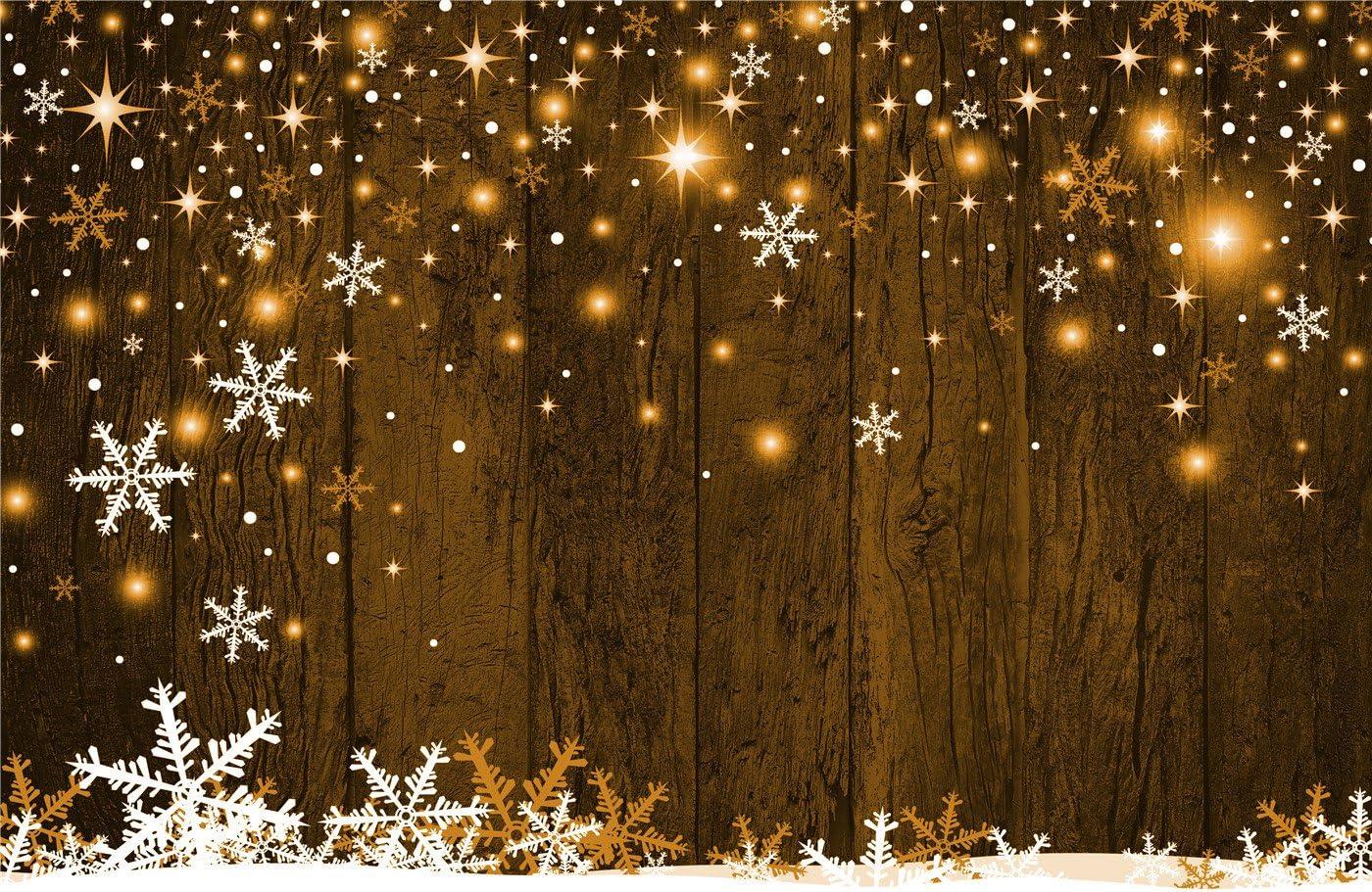 7 X 150 Schneeflocke Photography Hintergrund Braun Holz Wand Hintergrund Gelb Beleuchtung Für Weihnachten Hintergrund Booth 10x6 5 Küche Haushalt