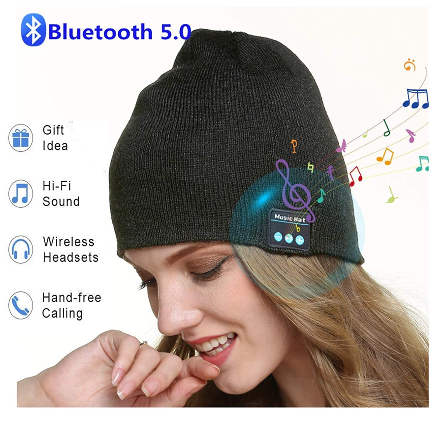 Unisex Bluetooth Beanie Hat for Men Sports Running Headphones Winter Knitted Hat with 2 HD Stereo Speakers & Microphone Unique Cool Stocking Stuffers for Men Women Teen Boys Girls