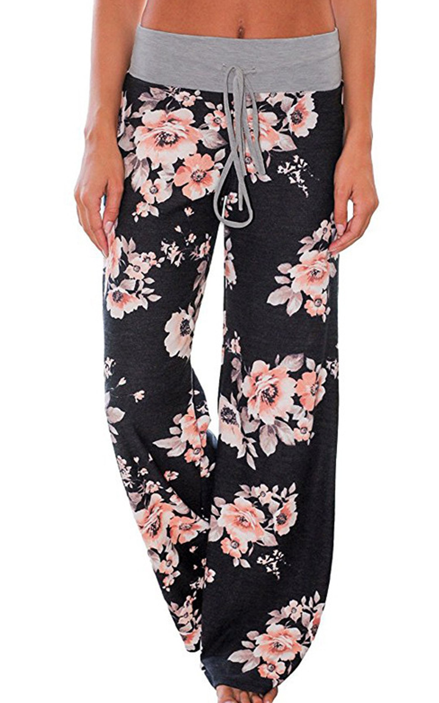 Angashion Women's High Waist Casual Floral Print Drawstring Wide Leg Pants, Black0486, US 8/Tag XL