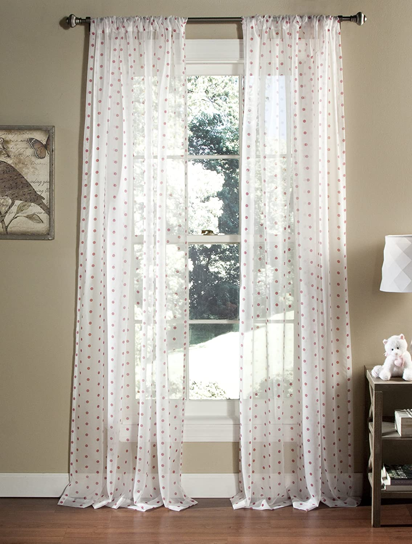 Lush Decor Polka Dot Sheer Window Curtain, 84 by 52-Inch, Pink, Set of 2