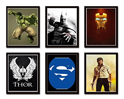 Super Hero Collage Wall Decor Home Decor Art Framed Posters From ...