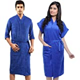 FEELBLUE Terrycloth Bathrobe for Men and Women (Royal Blue, Free Size) - Pack of 2