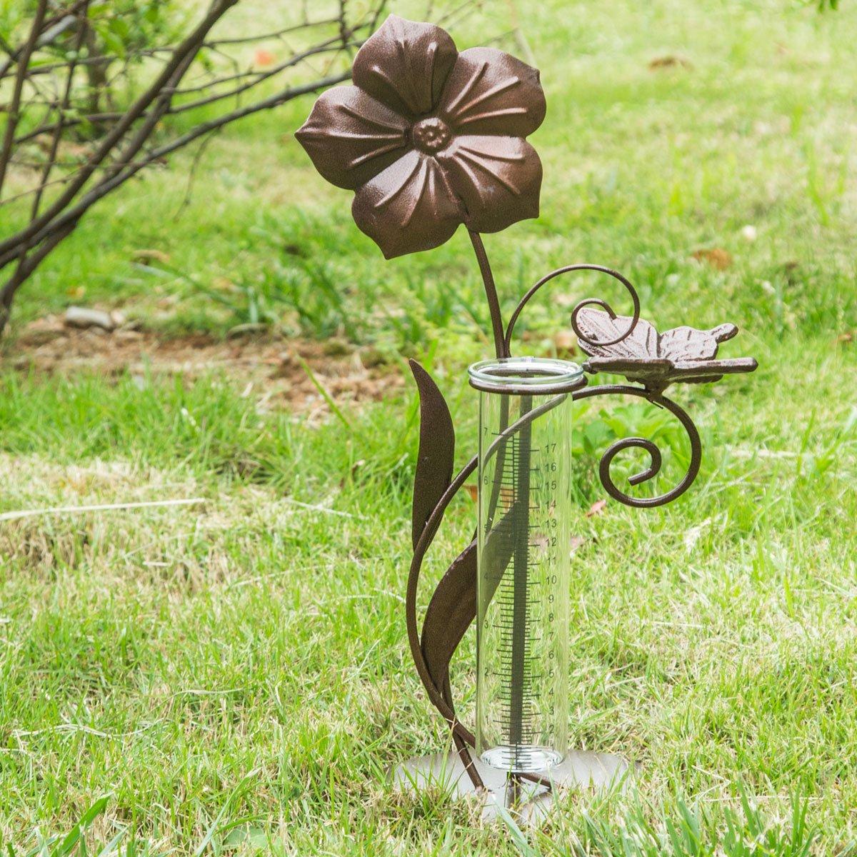 A Ting Garden Decorative 7'' Metal and Glass Rain Gauge,Butterfly,Flower