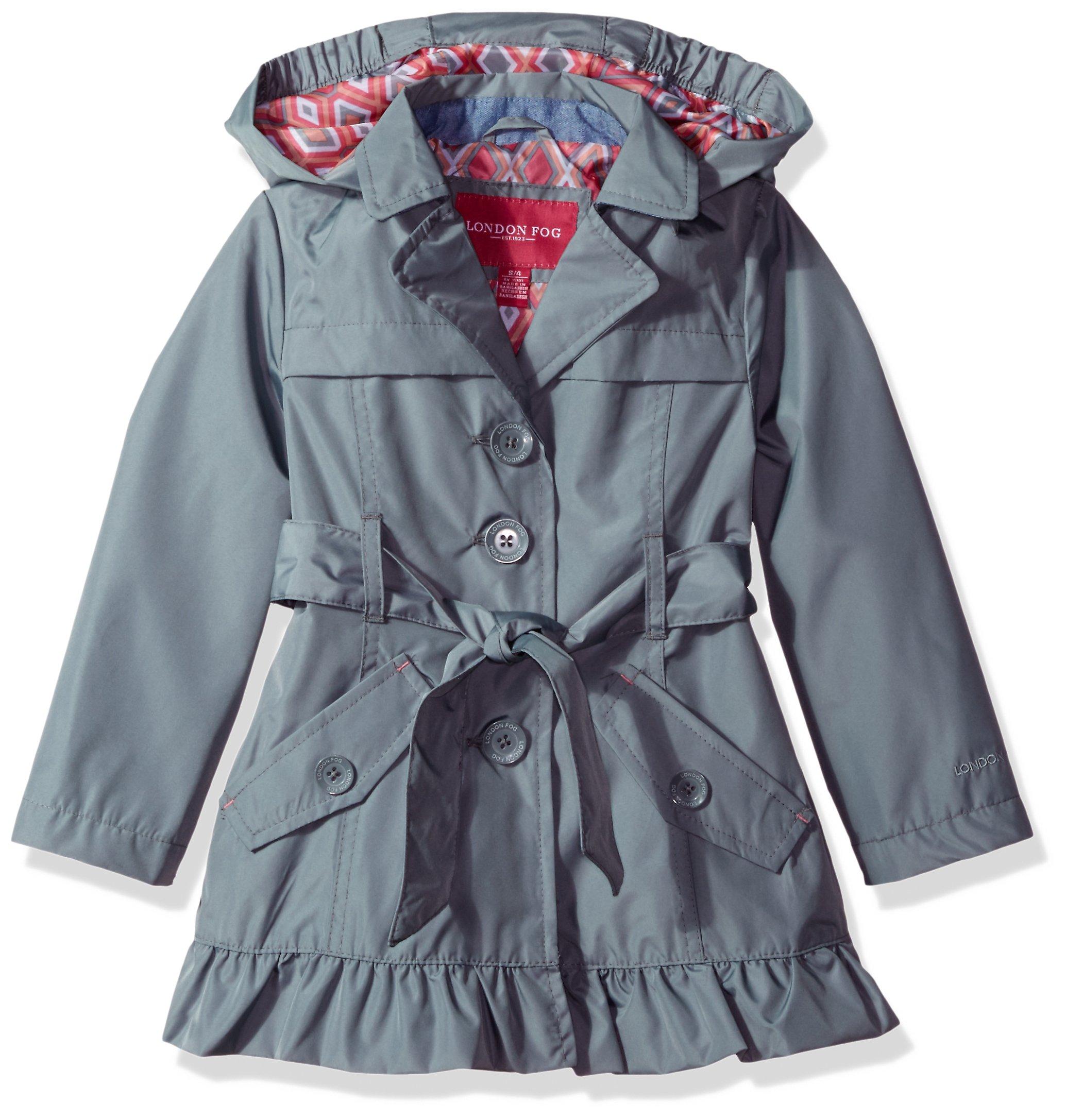 London Fog Little Girls' Single Breasted Trench Coat, Summer Grey, 6X