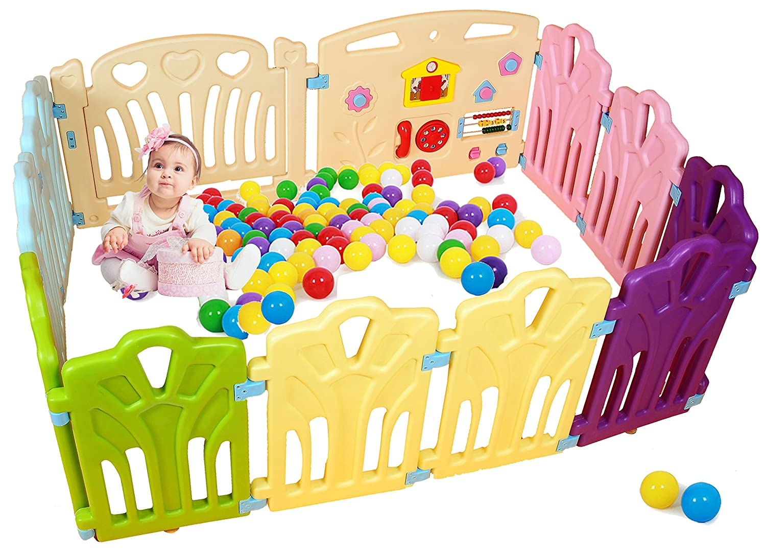 Baby Playpen Kids Activity Centre Safety Play Yard Home Indoor Outdoor New Pen (Multicolour, Classic Set 12 Panel) PENSON & CO.