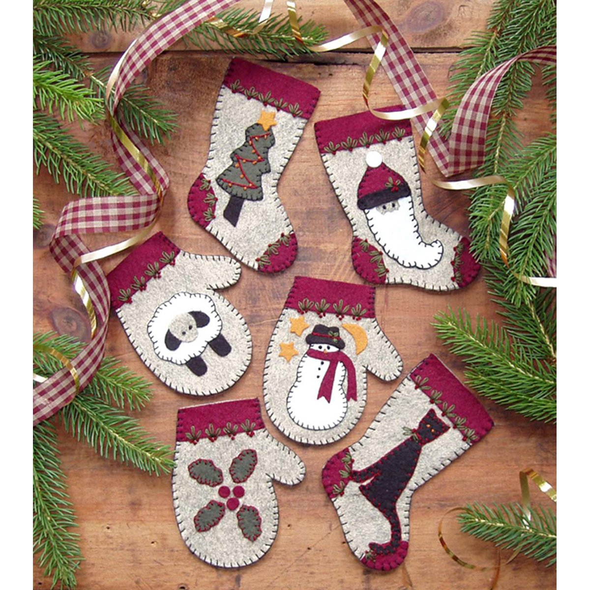 Rachel's Of Greenfield Christmas Woolens Ornament Kit-Set Of Six Notions - In Network K0803