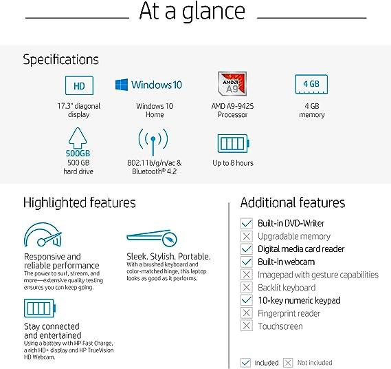 Amazon Com Hp 17 Inch Laptop Amd A9 9425 Processor 4 Gb Ram 500 Gb Hard Drive Windows 10 Home 17 Ca0010nr Gray Computers Accessories