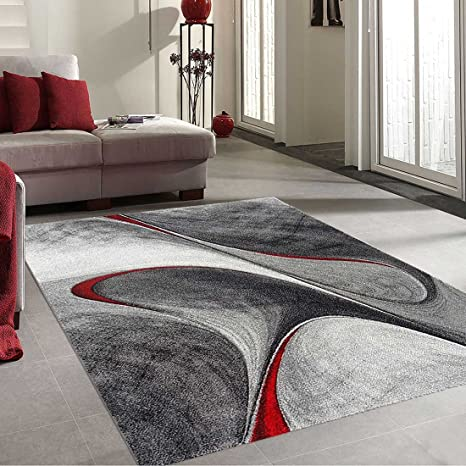 UNAMOURDETAPIS Tapis Salon Moderne et Design madila Rouge, Gris, Noir 160 x  230 cm