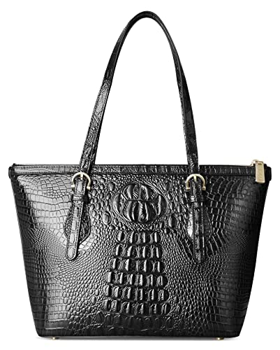 4091cdc3e3 Amazon.com  PIFUREN Leather Tote Bag for Women shoulder tote Bag Designer  Crocodile Purse Office Satchel Totes (C68726 Black)  Shoes