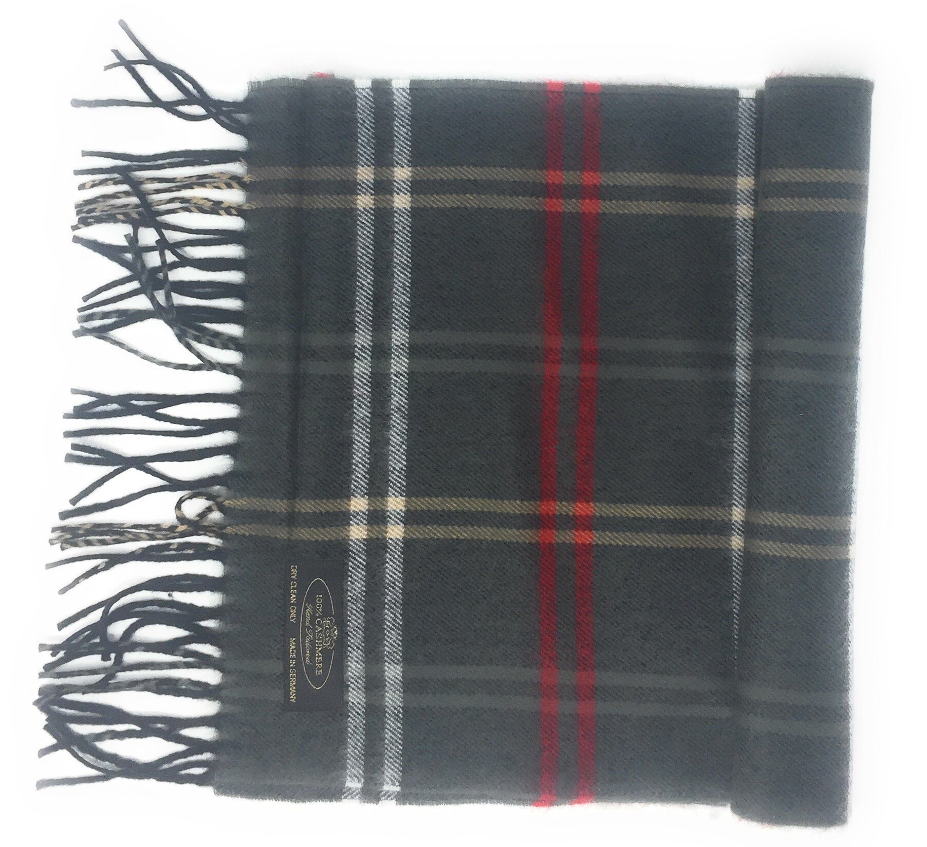 Annys 100% Cashmere Plaid Scarf 12 X 72 with Gift Bag For Men Women (Dark Grey/Red/Cream Plaid)