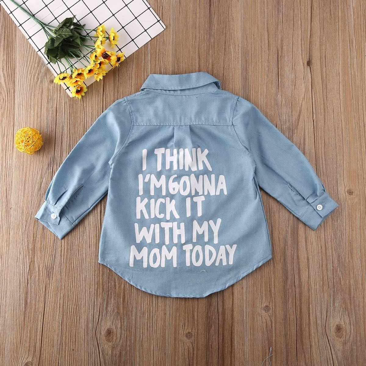 Kosusanill Kids Toddler Baby Boys Girls Denim Long Sleeve Button Up Shirt Spring Fall Causal Tops Blouse