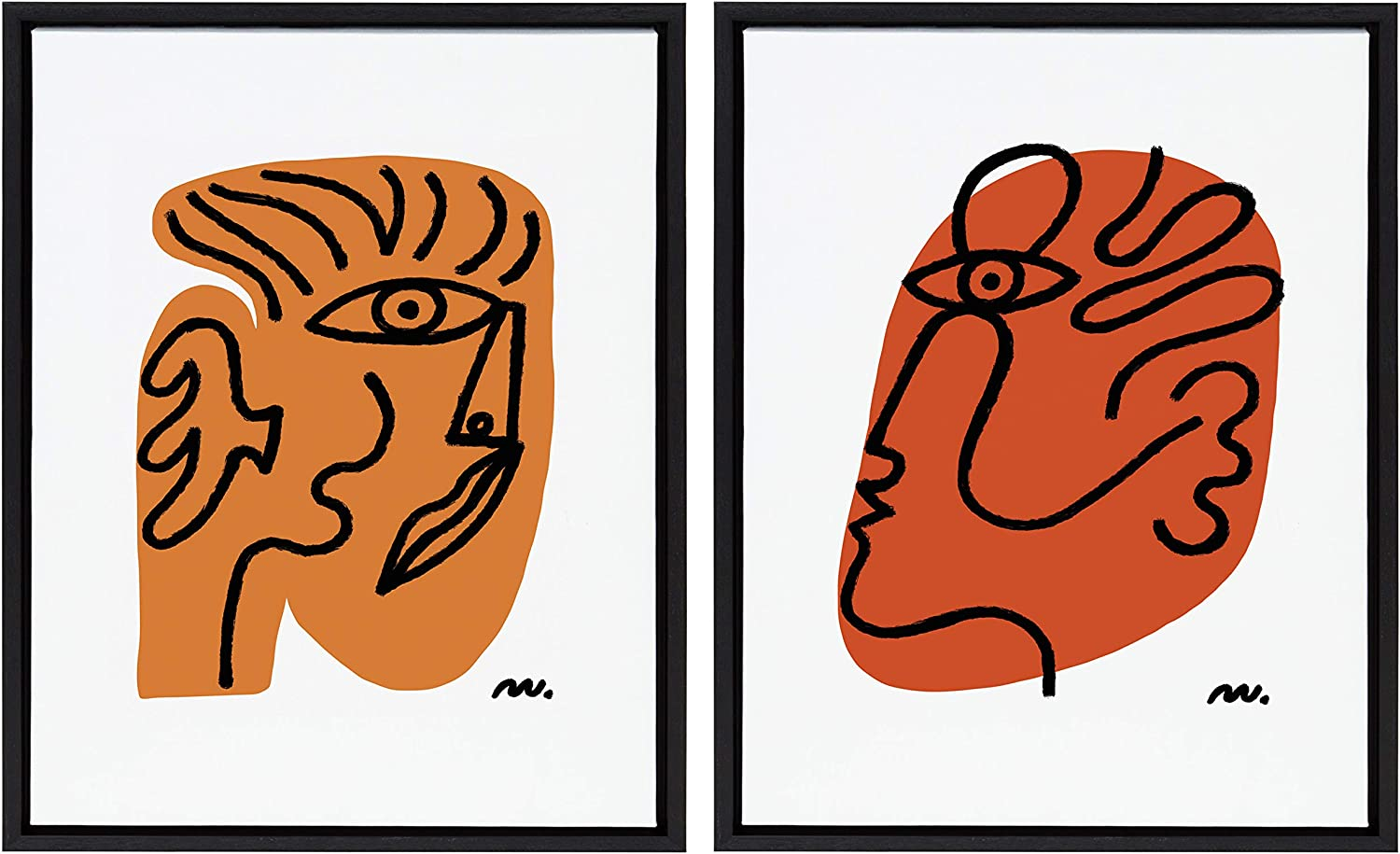 Kate and Laurel Sylvie Abstract Faces Framed Canvas Wall Art by Marcello Velho, Set of 2, 18x24 Black, Abstract Wall Decor