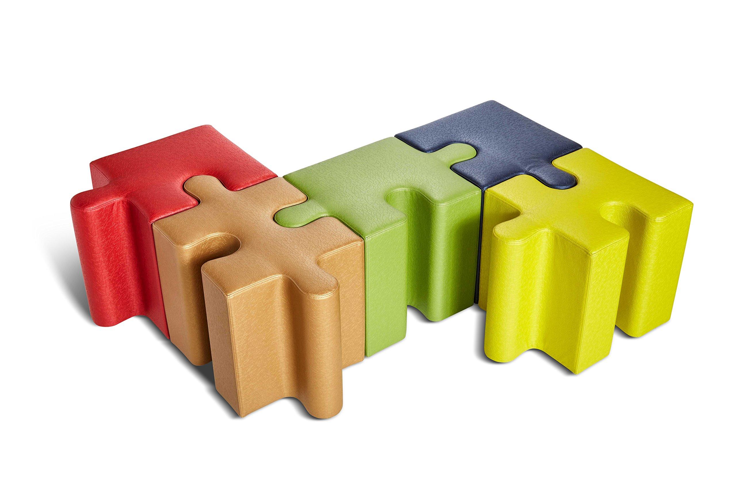 Logic Furniture JIGSTL17 Jigsaw 1 Edge Slot Ottoman, Teal by Logic Furniture (Image #3)
