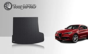 ToughPRO Cargo/Trunk Mat Compatible with Alfa Romeo Stelvio - with Subwoofer - All Weather - Heavy Duty - (Made in USA) - Black Rubber - 2018, 2019, 2020