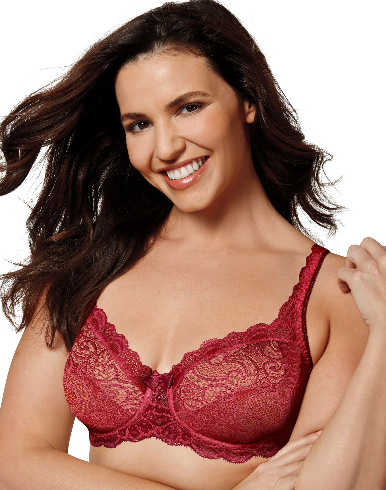 Playtex Women's Love My Curves Beautiful Lace and Lift Underwire, Sparkling Red, 40DD