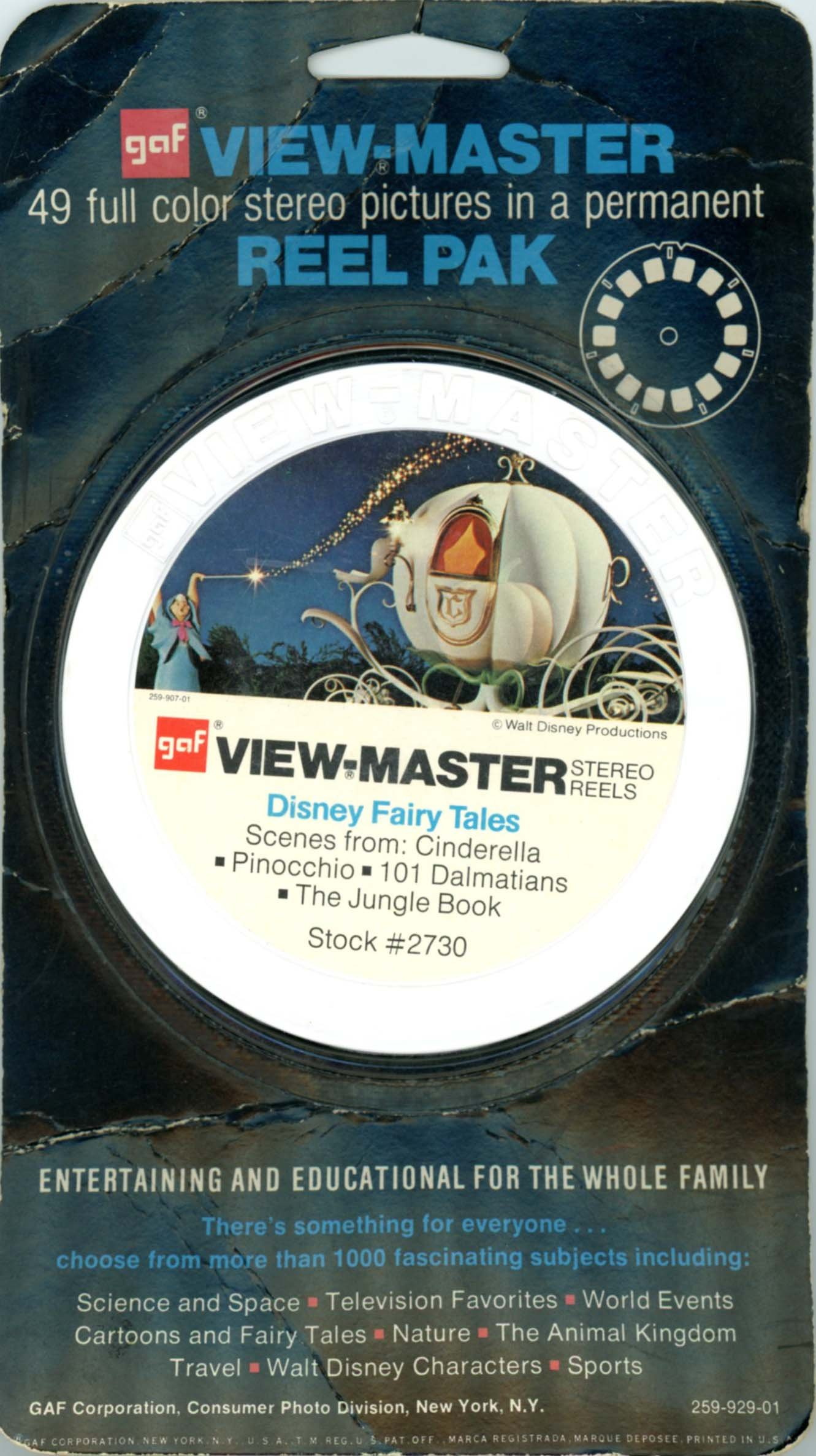 Disney Fairy Tales - 7 Classic ViewMaster Vintage 3D Reels plus storage Case