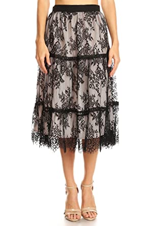 d8f1d9d1ab Image Unavailable. Image not available for. Color: On Twelfth Women's  Eyelash Lace Midi Skirt Eyelash Feather Hem ...