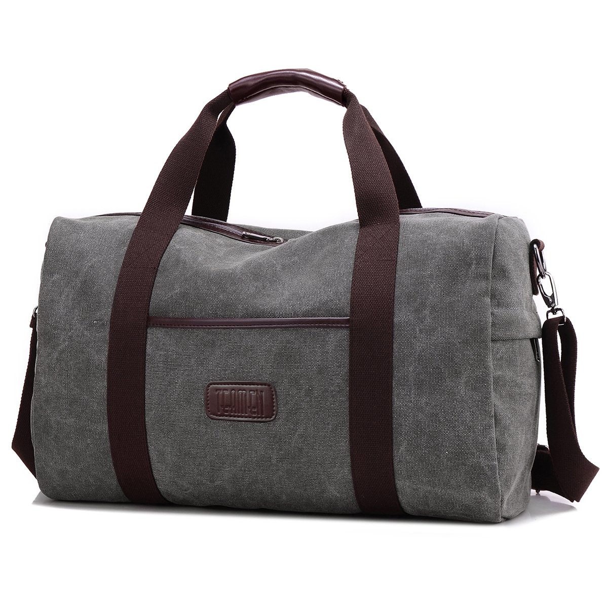 15267acf60 Travel Duffel Bag Totes TEAMEN Canvas HandBag PU Leather Weekender Overnight  Holdall 20L for Gym Sports Travel Work School and Daily use(Gray).