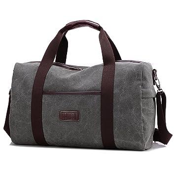 Weekender Bag Reisetasche TEAMEN Sporttasche Handtasche Canvas PU Leder Tasche Umhängetasche Schultertasche Henkeltasche 20L für Einkaufen Reisen