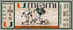 FANMATS University of Miami Ticket Runner Rug - 30in. x 72in.