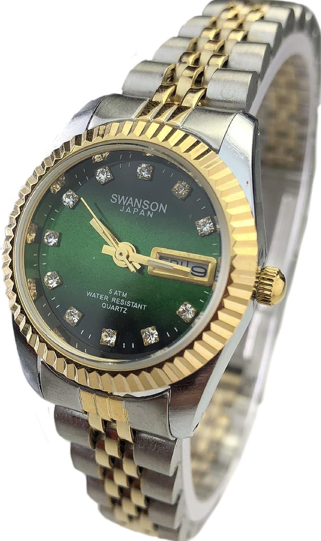 Amazon.com: Swanson Japan Women Watch Reloj de Mujer Two Tone Green face New: Watches
