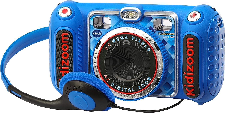 VTech - Kidizoom DUO DX, cámara digital para niños, fotos, vídeos, filtros, reproductor de música, juegos, USB, control parental, color azul (3480-520022)