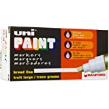 Uni-Paint PX-30 Oil-Based Paint Marker, Broad Point, White, 6-Count