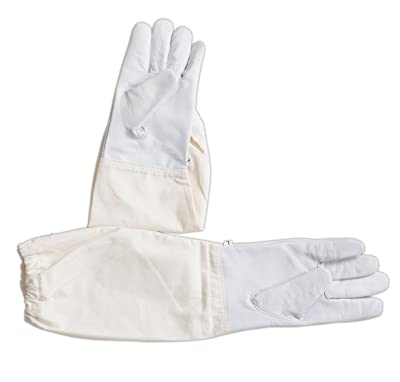 Children Goatskin Leather Beekeeper's Glove with Long Canvas Sleeve & Elastic Cuff (Small)