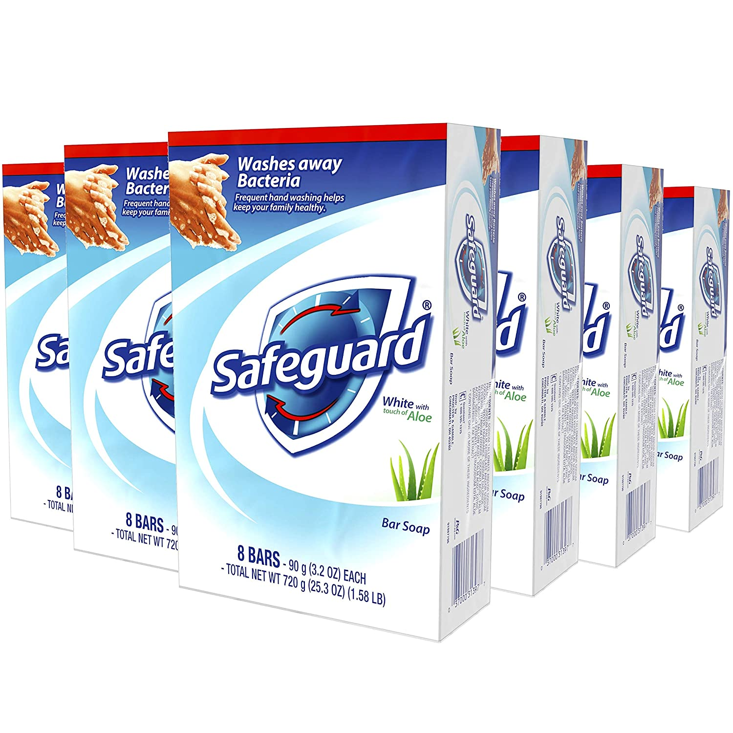 Safeguard Deodorant Bar Soap, Washes Away Bacteria, White with Touch of Aloe, 8 Bars, (Pack of 6, total of 48 Bars) : Beauty
