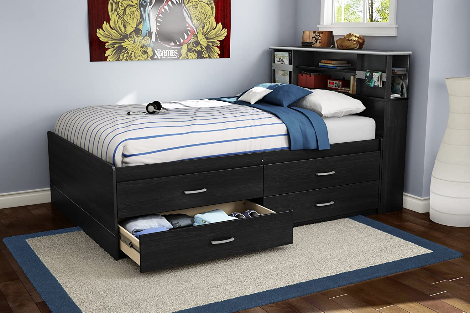 bookcase bed trundle captain w drawers headboard full store