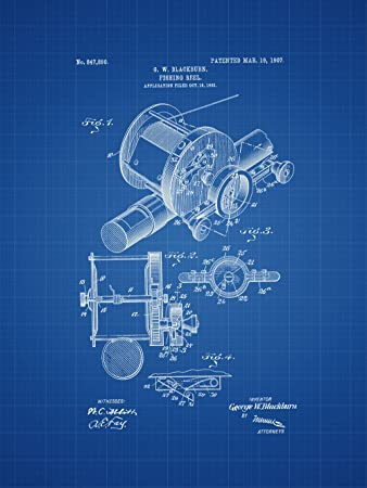 Amazon Com Framable Patent Art Original Ready To Frame Decor Fishing Reel Bass Pro 18in By 24in Patent Art Poster Print Blueprint Papsp9b Home Improvement