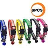 FUNPET 6 Pcs Breakaway Cat Collar with Reflective Nylon Strip and Bell, Safe and Durable