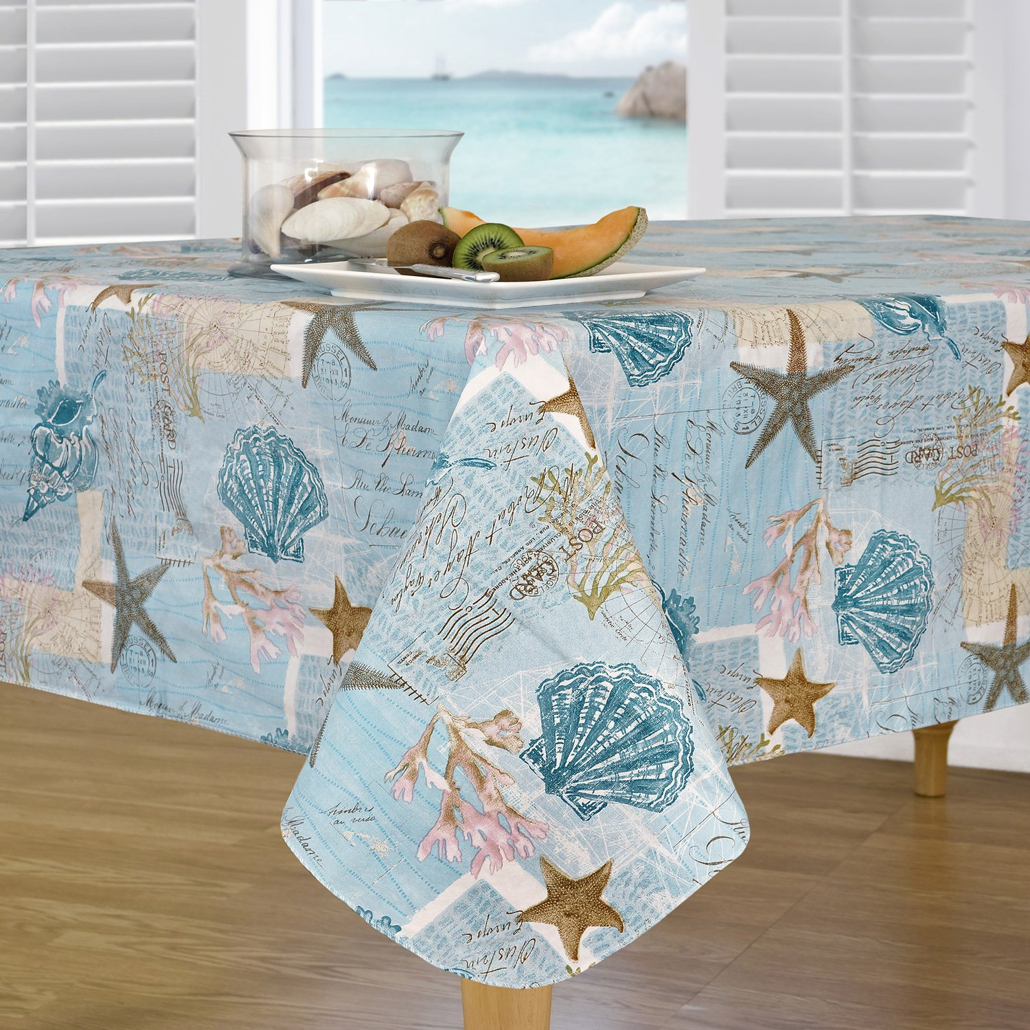 Everyday Luxuries by Newbridge Coastal Haven Flannel Backed Indoor Outdoor Vinyl Table Linens, 60-Inch by 84-Inch Oblong (Rectangle) Tablecloth