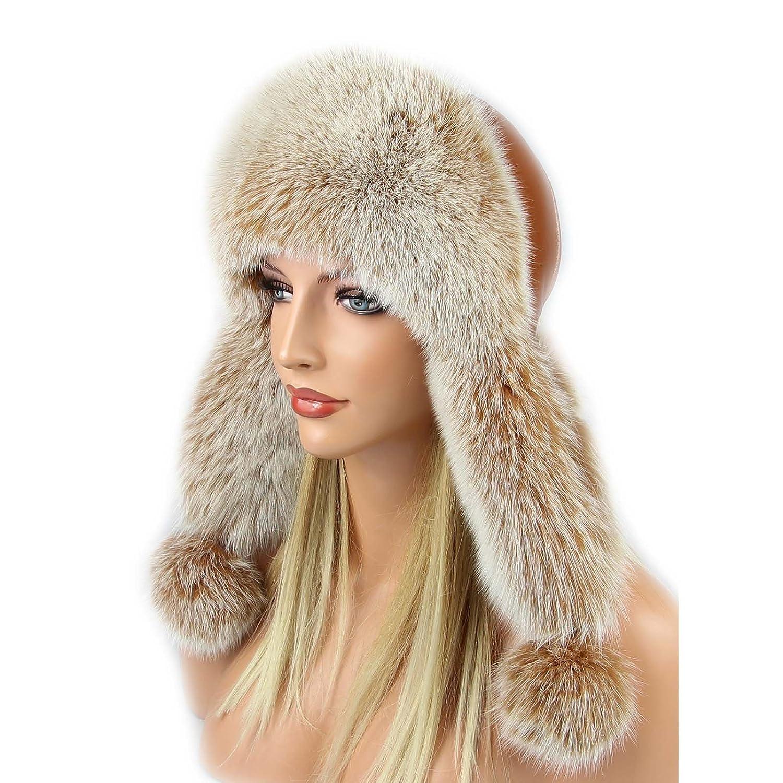 Damen Pelzmütze Fellmütze Fuchs Mütze Fliegermütze Wintermütze Skimütze Uschanka Polarmütze Russische Mütze Echt Fell