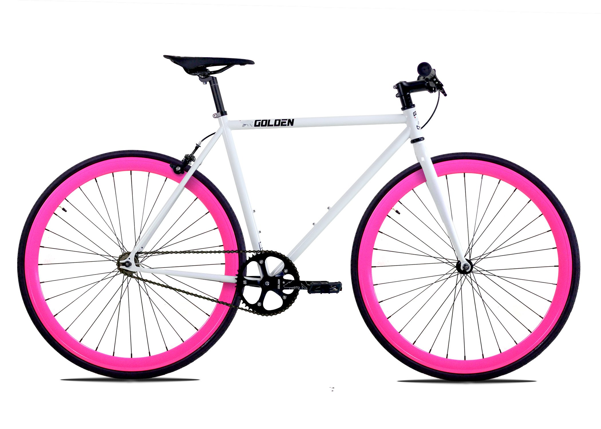 Golden Cycles Single Speed Fixed Gear Bike with Front & Rear Brakes(Dahlia 48), White/Pink