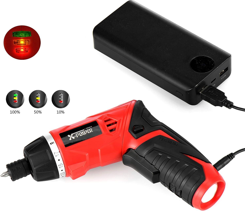 per DIY Assemblaggio Mobili 3.5N.m Luce a LED Indicatore di batteria Cacciavite Elettrico Ricaricabile 1300mAh Li-ion 3.6V SP-Cow Avvitatore Elettrico con carica USB 19 Accessori Inclusi