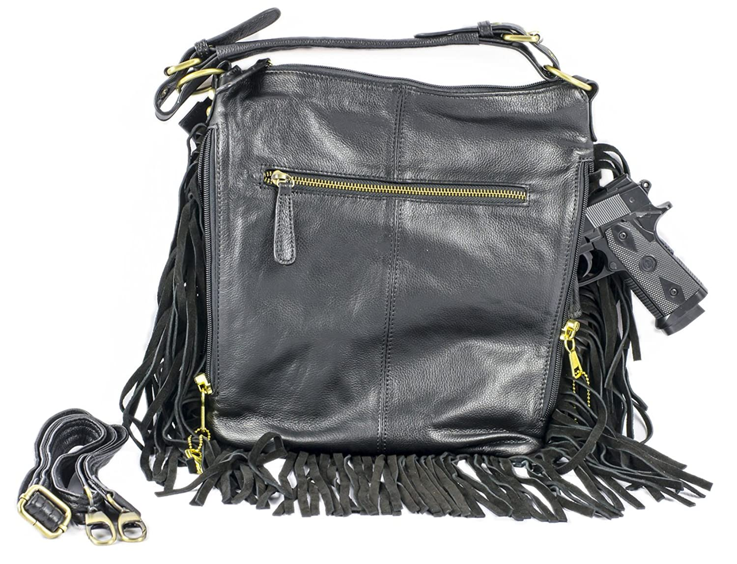 d16b1aed4024 85%OFF Vivoi Cowhide Leather Locking Concealed Carry Purse Tassels Shoulder  or Cross-Body