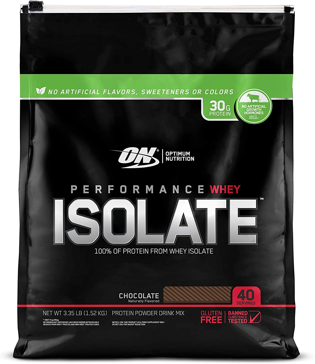 Optimum Nutrition Performance Whey Isolate Protein Powder, Naturally Flavored Chocolate, 40 Servings: Health & Personal Care