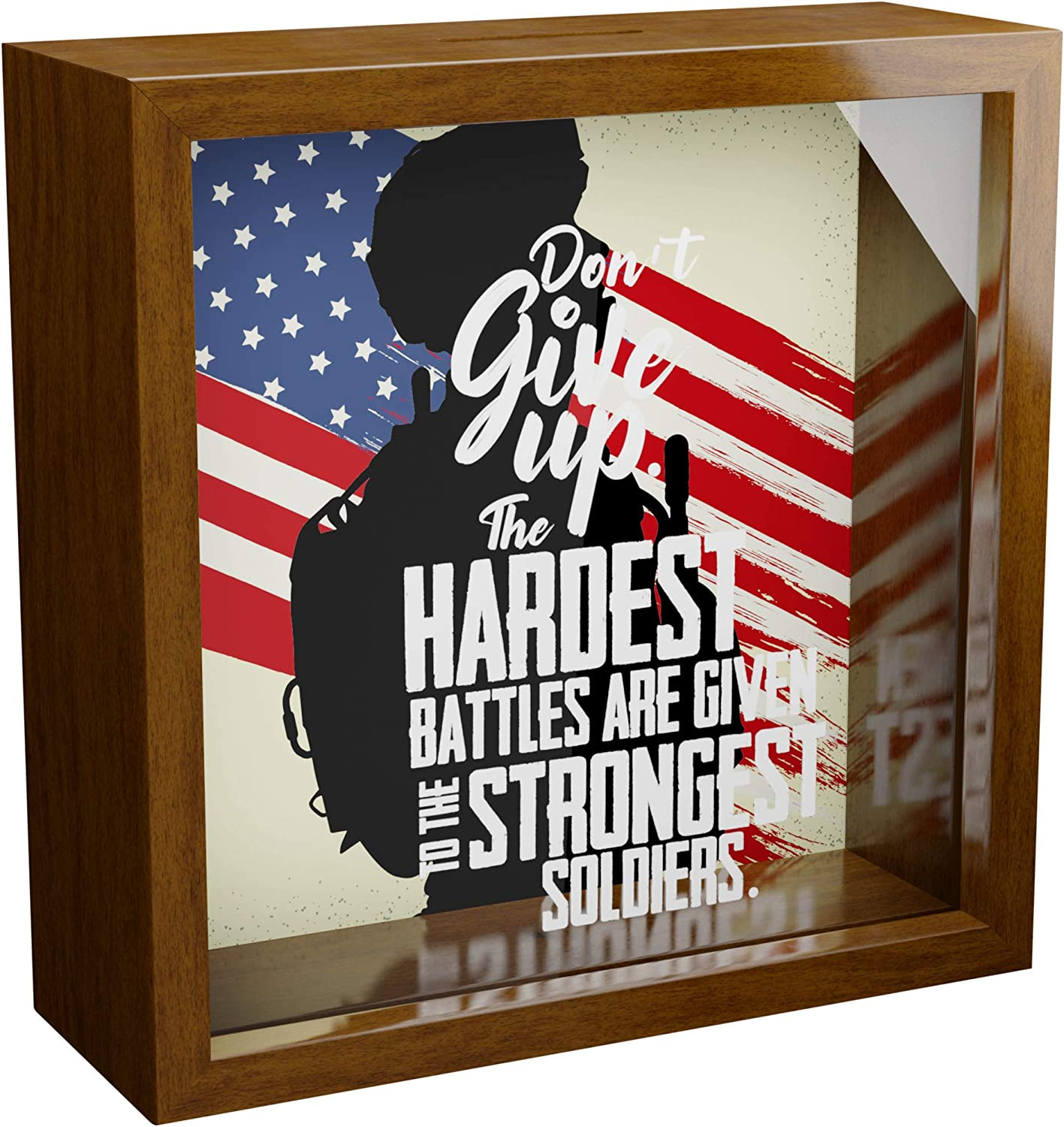 Army Wall Decor | 6x6x2 Wooden Keepsake Box | Memorabilia Shadow Box with Glass Front | Retirement Gift for Soldiers | Military Themed Gifts | Great as Home Decorations