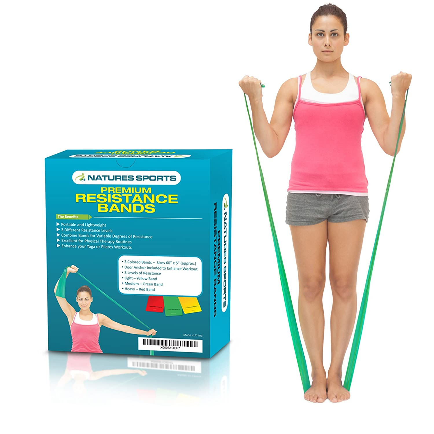 Flat Exercise Stretch Bands 3 x Resistance Bands Set (Light Medium Heavy) Latex Free - Physical Therapy Bands Resistance Exercise Bands for Yoga ...