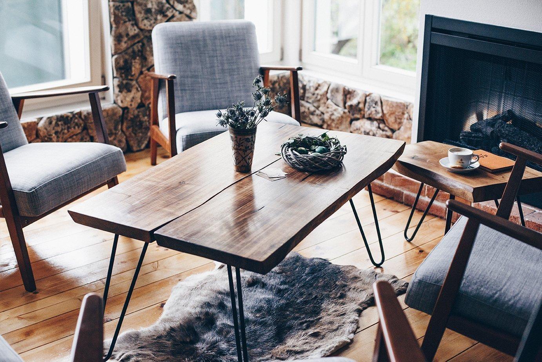 Amazon Com Coffee Table Walnut Steel Legs With Live Edge Top