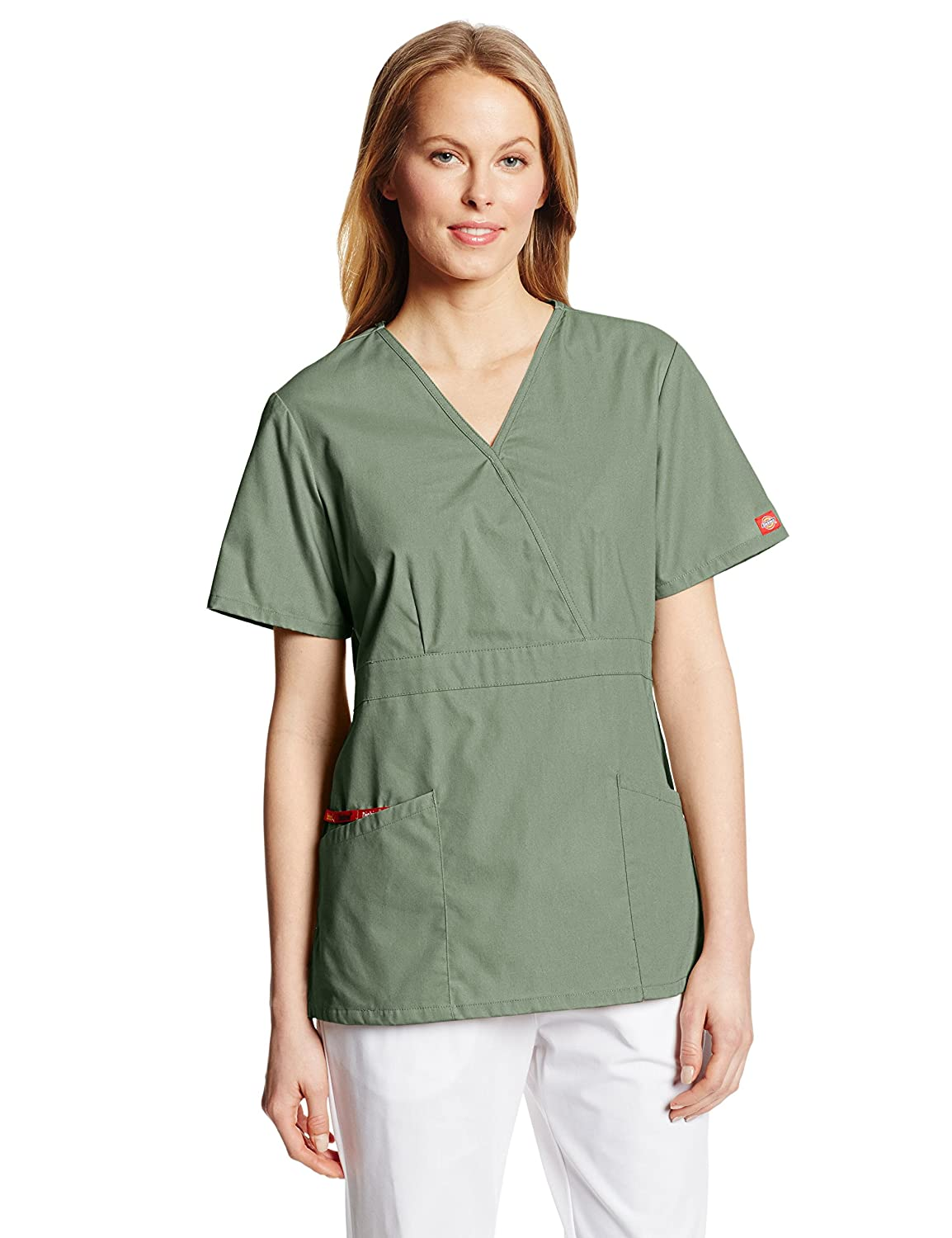 Dickies Womens EDS Signature Mock Wrap Top with Multiple Instrument Loop Small Olive
