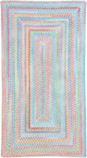 """product image for Capel Rugs Baby's Breath Medium Blue 24"""" x 8' Runner Concentric Rectangle Braided Rug"""