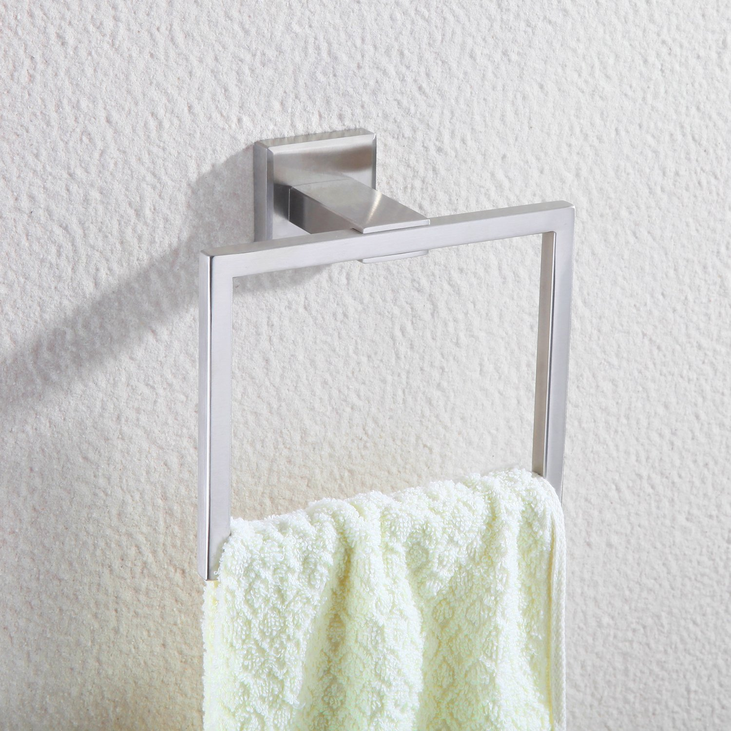 Haiying Bath Towel Holder Hand Towel Ring Hanging Towel Hanger Bathroom Accessories Contemporary Hotel Square Style Wall Mount, Brushed SUS 304 Stainless Steel Finish